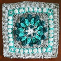 The Magnolia Compass Mandala Square was created for the Mandala Blanket CAL by The Lavender Chair! The Mandala Blanket CAL has 20 unique squares Free Crochet Square, Crochet Squares Afghan, Granny Square Crochet Pattern, Crochet Blocks, Crochet Motif, Crochet Yarn, Crochet Patterns, Crochet Granny, Granny Squares