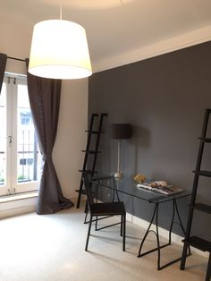 grey wall at own project in Fulham flat, by… Gray Interior, Living Room Interior, Modern Interior Design, Interior Design Inspiration, Living Room Colors, Living Room Designs, Basement Wall Colors, Home Office, Cosy Room