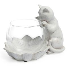Cat and flower candle holder