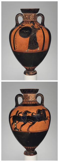 Black-figure Panathenaic prize amphora with the goddess Athena (top) and a horse race (bottom), attributed to the Leagros Group. Attic Greece, c. 510 B.C. Terracotta. | Metropolitan Museum of Art