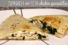 Spinach and Feta Chicken Quesadillas | RainstormsandLoveNotes.com