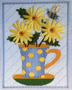 Daisy Teacup needlepoint ~ Fun piece and fun stitches