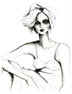 Graphite on polypropylene by Lara Wolf #fashion #illustration