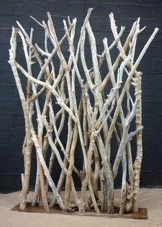 Paravent en branches de bois flotté en 5/7cm de diamètre