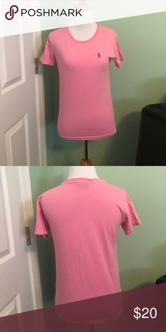 Ralph Lauren Sport Pink Tee Ladies Ralph Lauren Sport Pink Tee with Blue Horse. Crew neck.  Short Sleeves.  100% Cotton. Ralph Lauren Sport Tops Tees - Short Sleeve