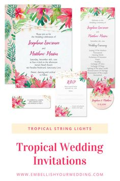 Tropical wedding invitations featuring watercolor hibiscus and plumeria flowers, tropical foliage and string lights. Visit our website to see the full range of matching wedding stationery. #wedding #weddinginvitations #weddinginvites #tropicalwedding #tropicalweddinginvitations #tropicalweddinginvites #hibiscusweddinginvitations #stringlightweddinginvitations
