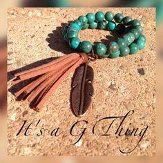 Double Strand Genuine Turquoise Beaded Bracelet