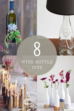 Whether you use glitter, paint, or decorate with lights, there is so much you can do to decorate with empty wine bottles! Try one of these 8 DIYs.