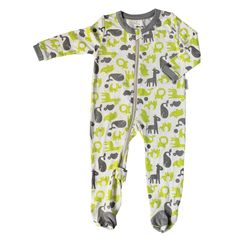 2a4e7cac57 Bamboo Footies with Easy Dressing Zipper - Limey   Dove - Silkberry Baby