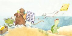 Merel Eyckerman Illustration - merel eyckerman, traditional, watercolour, paint, painted, trade, picture book, picturebook, commercial, quirky, sweet, tortoises, animals, bears, kites, seaside, holiday, vacation, beach, sand, ocean, waves, water