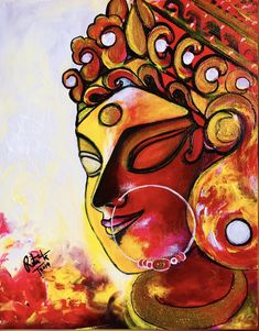 Excited to share this item from my shop: Maa Durga Contemporary modern abstract style painting Durga Painting, Kerala Mural Painting, Indian Art Paintings, Modern Art Paintings, Durga Maa Paintings, Indian Artwork, Buddha Painting, Abstract Paintings, Oil Paintings