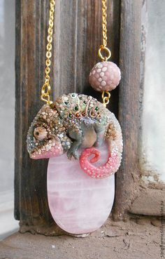 "Кулон ""Хамелеончик"". Handmade. #pendant #chameleon #polymerclay"