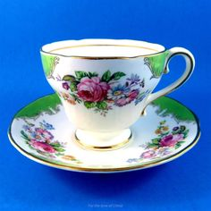 Green Edge and Bright Florals Salisbury Tea Cup and Saucer Set | Antiques, Decorative Arts, Ceramics & Porcelain | eBay!