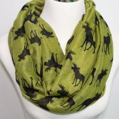 Green Moose scarf moose Infinity Scarf Animal by Natisupplies