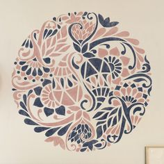 """Floral Medallion Painting Stencil - Furniture Painting Stencil - Wall Painting Stencils - Mandala Wall Stencil * THE SIZE OF THE STENCIL THAT WE USE ON 1st PICTURE IS 42'' x 42"""" * NOTE: This is a reus"""