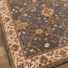 Art Nouveau Bungalow Floral Traditional Rug - Brown or Blue