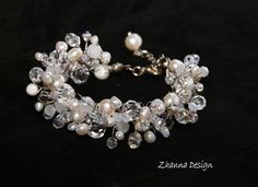 White Wire Crochet BridalBridal Pearls BraceletBridal by CyShell