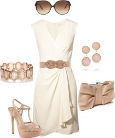 """beige dress"" by missyalexandra on Polyvore"