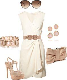 """beige dress"" by missyalexandra on Polyvore"