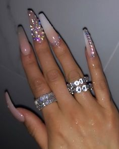 Bling Acrylic Nails, White Acrylic Nails, Best Acrylic Nails, Summer Acrylic Nails, Rhinestone Nails, Bling Nails, Swag Nails, Summer Nails, Nail With Rhinestones