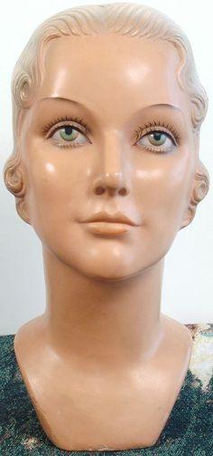 Rare Vintage 1930s-40s ART DECO Lady Mannequin Head/Bust - Carole Lombard