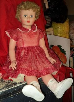 "MAGGIE-Patti Play Pal Child-sized ""Companion Dolls"" 35"" Short and curly Strawberry blonde hair -Image result for 3 feet tall canadian walking doll from 1960's"