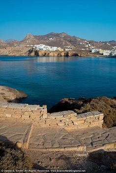 Naxos #Greece from the gate of Apollo in Naxos harbour there is a great view across to a small village high upon a cliff