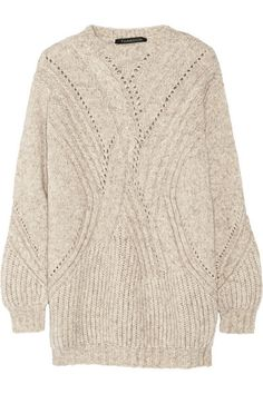 THAKOON Cable-knit mélange sweater