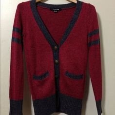 Preppy style cardigan  Love this gorgeous red preppy style cardigan  NO TRADES! No PayPal. Please use the offer tool. Forever 21 Sweaters Cardigans