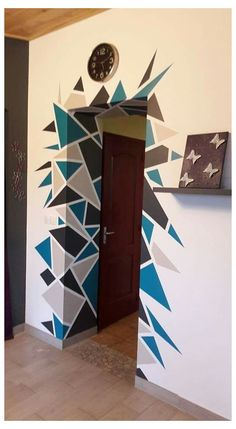 Geometric Wall Paint, Geometric Decor, Wall Paint Patterns, Wall Painting Decor, Creative Wall Painting, Bedroom Wall Designs, Creative Walls, Paint Designs, Wall Art Designs