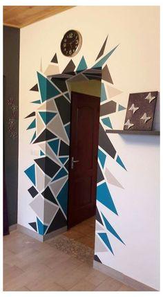 Geometric Wall Paint, Geometric Decor, Wall Paint Patterns, Wall Painting Decor, Creative Wall Painting, Bedroom Wall Designs, Creative Walls, Paint Designs, Wall Art Designs