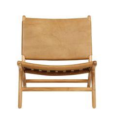 Fenton & Fenton –               Flat Leather Marlboro Chair - Teak & Tan