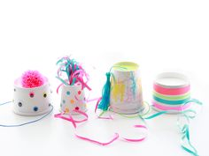 I had this idea for a while and finally made them, these super easy party hats. I think it would also make a great activity at a kids birthday party, decorating your own hat. Indoor Activities For Kids, Party Activities, Pinkie Pie Party, Fascinator, Diy Party Hats, Crafty Kids, Diy Paper, Diy Crafts For Kids, Cream Cups