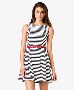 Striped Fit & Flare Dress w/ Belt