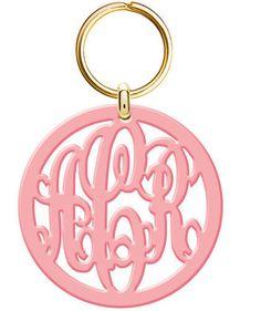 Monogram Acrylic Keychain Gold Tone Ring by vitabravo1 on Etsy, $20.99