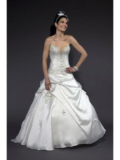 Satin Strapless Modified Sweetheart Hand-Beaded Bodice A-line Wedding Dress