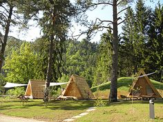 Love the A-Frame shape of these glamping huts in Slovenia.
