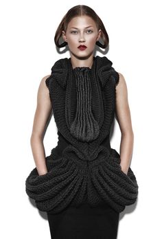 Sculptural Knitwear Design with symmetrical 3D structure - texture, shape & symmetry; wearable art // Ragne Kikas