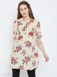 Tops & Tunics Women's Printed Cream Crepe Top  *Fabric* Crepe  *Sleeves* Sleeves Are Included  *Size* S- 36 in, M- 38 in, L- 40 in, XL- 42 in, XXL- 44 in  *Length* Up to 30 in  *Type* Stitched  *Description* It Has 1 Piece of Women's Tunic  *Work* Printed  *Sizes Available* S, M, L, XL, XXL *    Catalog Name: Women's Crepe Tops & Tunics CatalogID_129500 C79-SC1020 Code: 383-1060871-