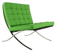 Green Leather Barcelona Chair Inspiring Hollywood Interior Design Accents, Courtesy of InStyle-Decor.com Beverly Hills for Interior Design Fans to Enjoy