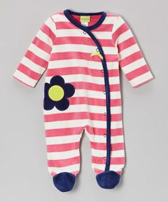 Pink Stripe Daisy Cotton Velour Footie - Infant by Offspring $13.99