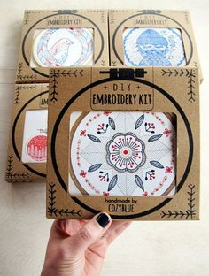 cozyblue embroidery kits include everything you need to create your own hand embroidered hoop. the pattern design is pre-printed on kona cotton fabric, Hand Embroidery Patterns Free, Diy Embroidery, Embroidery Stitches, Sewing Patterns, Kit Diy, Japanese Embroidery, Mandala, Free Sewing, Fabric Crafts