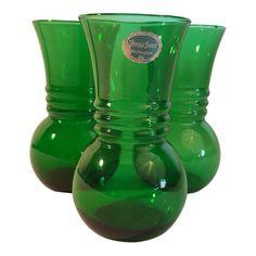 Anchor Hocking Forest Green Harding Vase, Set of 3