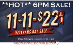 **HOT 6PM SALE!!** It is 11/11  so find 100s of items for $22 or less! 10% off code and free shipping too! Boots, jeans, shoes, apparel! Lots of gift ideas!  Click the link below to get all of the details ► http://www.thecouponingcouple.com/6pm-sale-11-11-22-and-additional-10-off-code-for-hot-buys/  #Coupons #Couponing #CouponCommunity  Visit us at http://www.thecouponingcouple.com for more great posts!