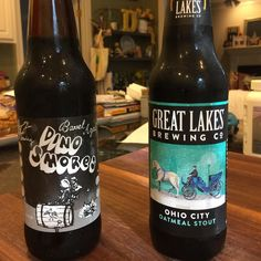 A World Series evening! @offcolorbrewing Barrel Aged Dino S'Mores vs. @glbc_cleveland Ohio City Oatmeal Stout!  Let's see who wins! #stout #stoutwhisperer #stoutseason #stouts #worldseries #chicago #cleveland #baseball #drink #drinks #beverage #cubs #indians #beer #craftbeer