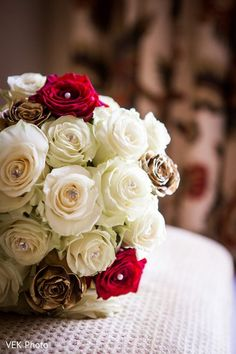 White and red roses bridal bouquet. http://www.maharaniweddings.com/gallery/photo/84897