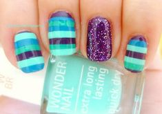 teal turquoise purple stripes nails