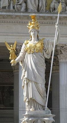 Athenea. Figura que corona la fuente delante del Parlamento en Viena. Escultura ejecutada por el escultor Carl Kundman bajo diseño del arquitecto Hansen  el mismo que  construyó el Parlamento . 1898-1903