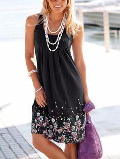 1427cfdfe1 Casual Floral Sleeveless Knee-Length A-line Dress