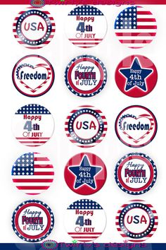 4th of July 1 Digital bottle Cap Images by PatchScript on Etsy, $1.25